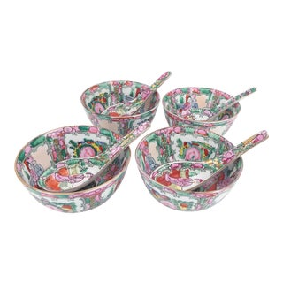 Rose Medallion Soup or Rice Bowls and Saucers For Sale