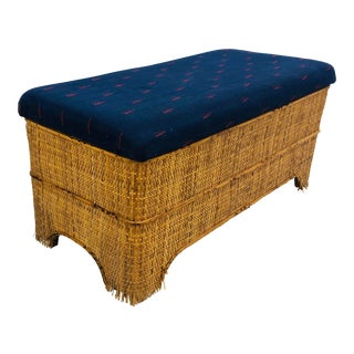 Antique Woven Bamboo Blanket Bench For Sale