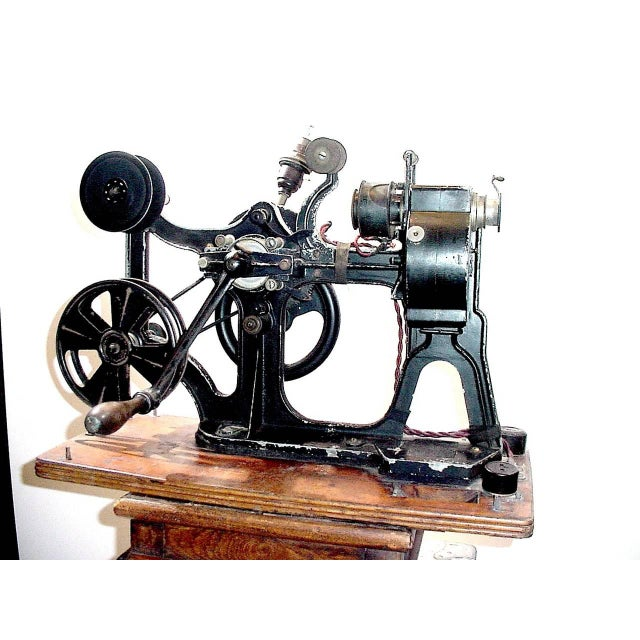 Art Deco Pathe Hand Crank 28MM Cinema Projector Circa 1912 With Vintage Film. Display As Sculpture. For Sale - Image 3 of 5