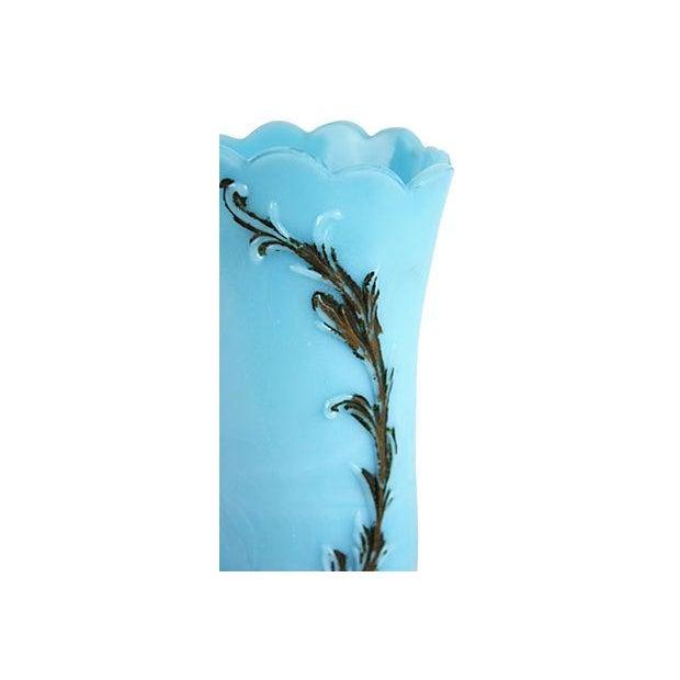 Blue Milk Glass Vase For Sale - Image 4 of 4