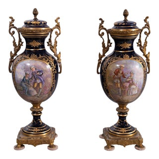 1910s Antique French Sevres Style Porcelain Urns-a Pair For Sale