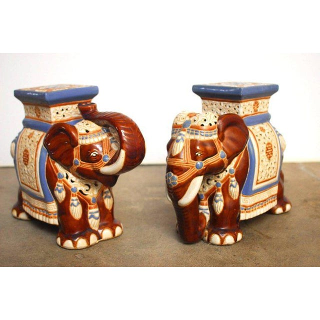 Ceramic Elephant Garden Stools or Drink Tables - A Pair - Image 2 of 11