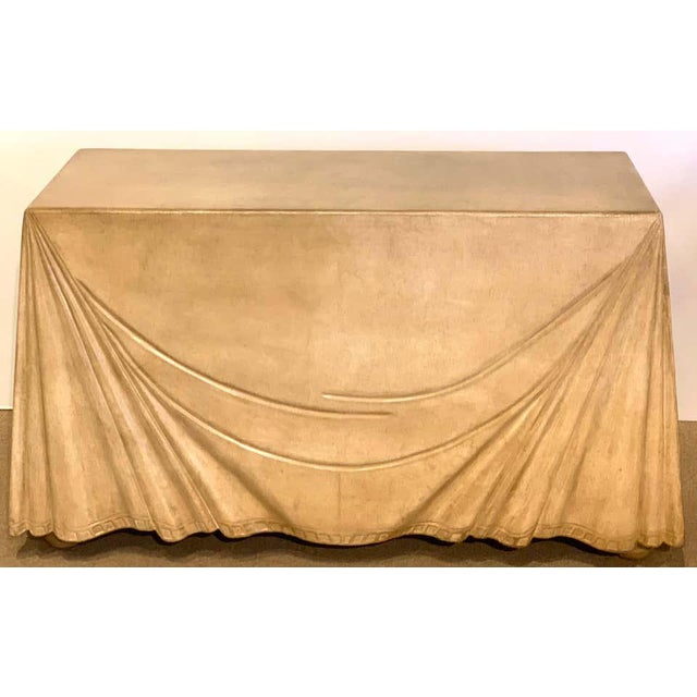Mid-Century Modern Aldo Tura Parchment Leather Trompe l'Oeil Draped Console For Sale - Image 3 of 12