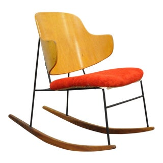 Vintage Mid Century Danish Modern Lb Kofod Larsen Penguin Rocking Chair Rocker For Sale