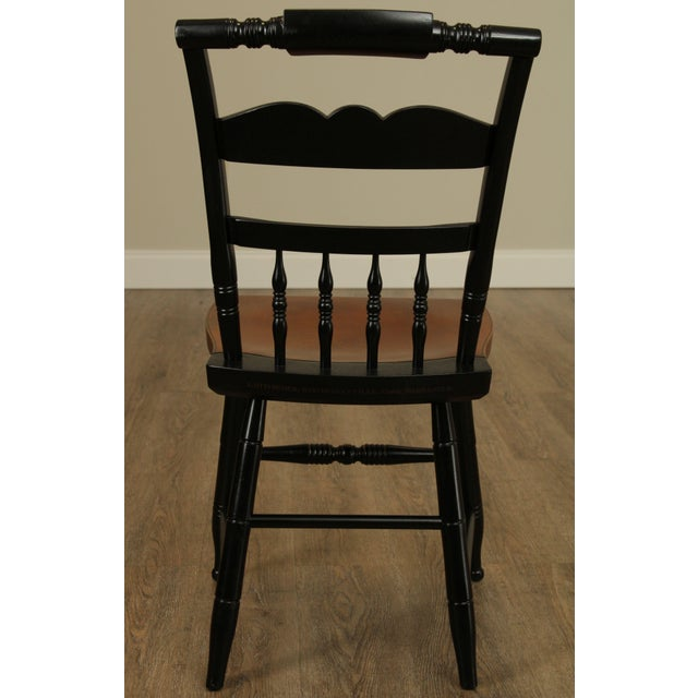 1970s Hitchcock Eagle Painted Black & Maple Side Chair For Sale - Image 5 of 13