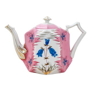 RS Prussia Vintage Pink and Gold Detail Porcelain Teapot For Sale