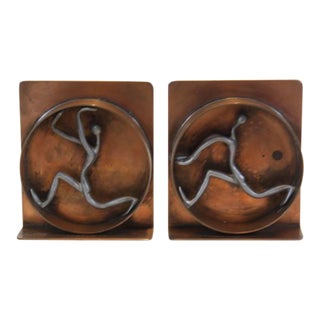 Mid-Century Modern Copper and Pewter Bookends Signed Nelson For Sale