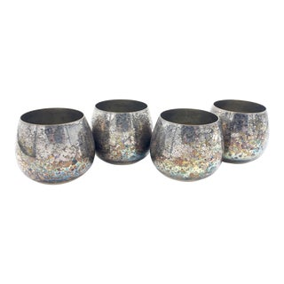 Mid-Century Modern Oneida Silver Plated Metal Roly Poly Drinking Glasses - Set of 4 For Sale