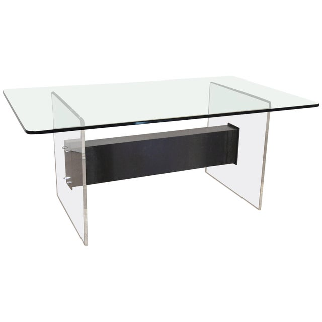 Lucite, Glass and Steel Dining Table or Desk For Sale - Image 11 of 11