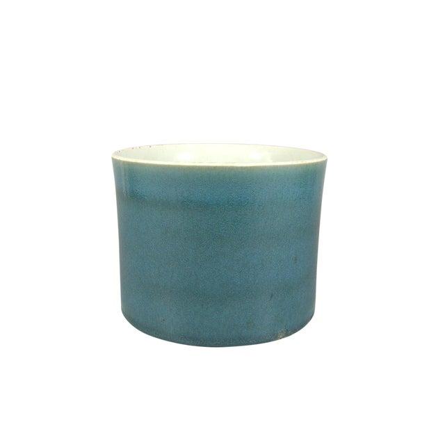 Antique Chinese Blue Glaze Brush Pot/Bitong For Sale