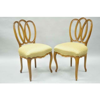 1950s Vintage French Provincial Triple Oval Pretzel Back Walnut Dining Chairs- Set of 6 Preview