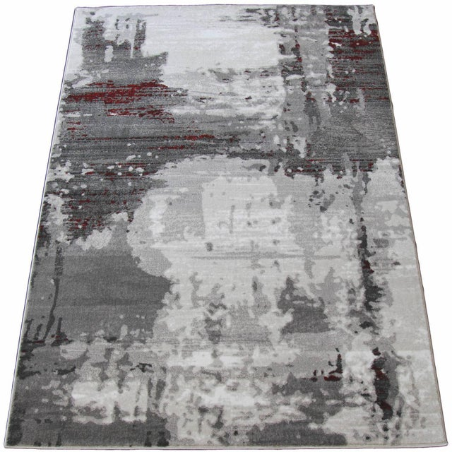 """Contemporary Gray & Red Abstract Rug - 6'7"""" x 9'7"""" - Image 5 of 8"""