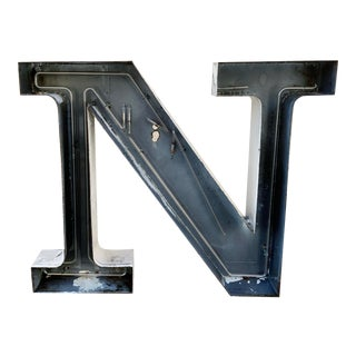 Jumbo Mid Century Channel Letter N Architectural Salvage Wall Sign For Sale