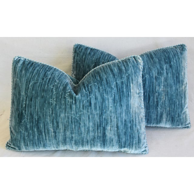 """Fabric Scalamandre & Clarence House Velvet Fabric Feather/Down Pillows 24"""" X 16"""" - Pair For Sale - Image 7 of 13"""