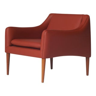 Hans Olsen Persimmon Leather Club Chair for C/S Mobler For Sale