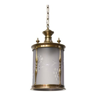 Brass Lantern with Frosted Glass For Sale