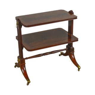 Baker Flame Mahogany Regency Style 2 Tier Etagere Side Table