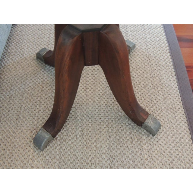 Vintage Hamilton Wood and Iron Industrial Rolling Swivel Stool For Sale In Miami - Image 6 of 8
