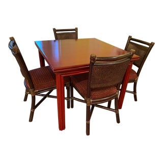 1990s McGuire Dining Table and Chairs - Set of 5 For Sale