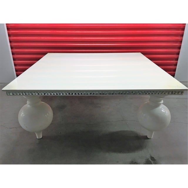 White Lacquer Coffee Table with Mirrored Edges - Image 6 of 6