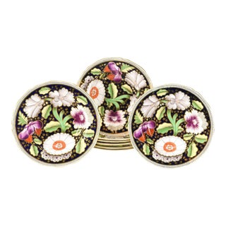 Set of Eight Copeland Spode Floral Polychrome Enamel Rimmed Soup Bowls For Sale