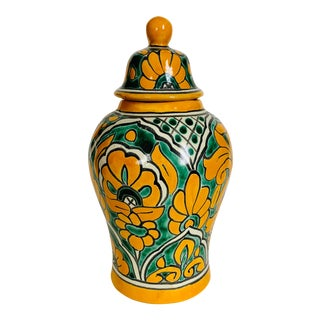 Mexican Talavera Pottery Ginger Jar For Sale