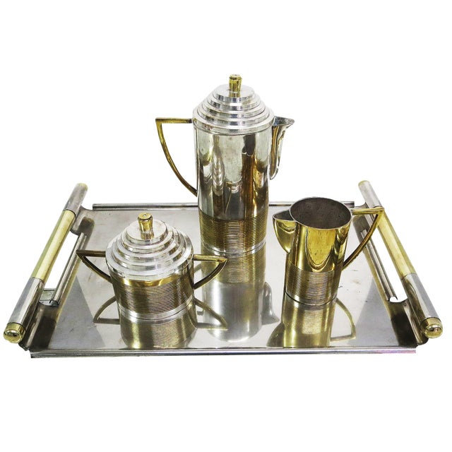 Art Deco Moderne Silver Plated Coffee Service For Sale