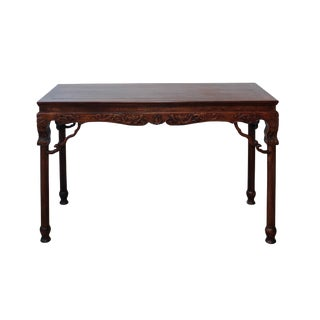 Chinese Brown Huali Rosewood Dragon Motif Round Apron Altar Table For Sale