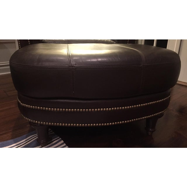 Animal Skin Ferguson Copeland Surrey Leather Chair & Ottoman For Sale - Image 7 of 10
