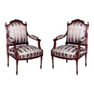 Louis XVI Blue Striped Arm Chairs For Sale