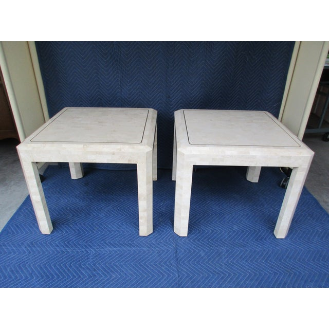 Maitland - Smith Maitland Smith Tessellated Stone and Brass Side Tables - a Pair For Sale - Image 4 of 12