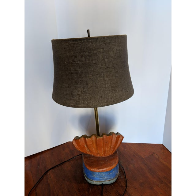 Late 19th Century 19th Century Rustic Hand-Carved Wooden Table Lamp For Sale - Image 5 of 7