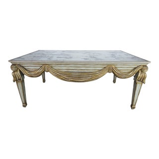 Antique Neoclassical Mirrored Gilt Table Table W/ Swags For Sale