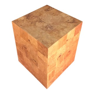 Milo Baughman Patchwork Burlwood Cube End Table