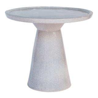 Colombo Handmade Glazed Ceramic Outdoor Accent Table, Gray For Sale