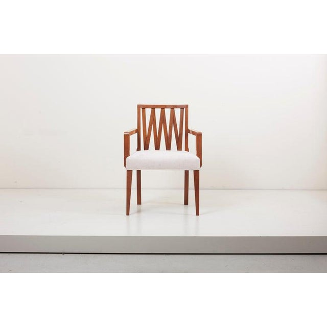 Newly Restored Set of 8 Lattice Back Dining Chairs Attributed to Paul T. Frankl For Sale - Image 6 of 13