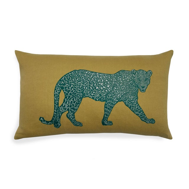 Contemporary Contemporary Leopard on the Prowl Yellow Linen Lumbar Pillow For Sale - Image 3 of 3