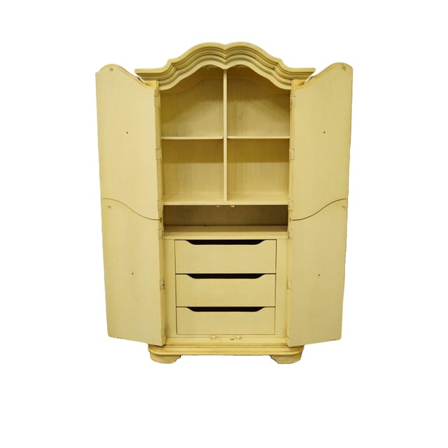 Stanley Furniture 20th Century Italian Tuscan Stanley Furniture Painted Cream Clothing Armoire For Sale - Image 4 of 12