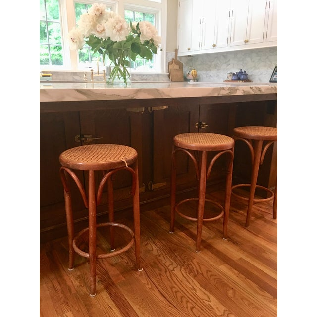 Brown Mid-Century Thonet Style Bentwood Stools - Set of 3 For Sale - Image 8 of 11