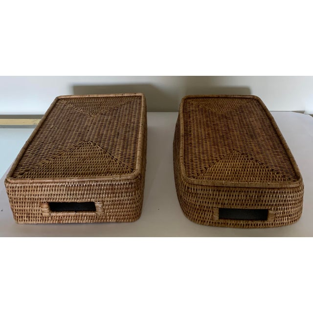 Brown Rattan Woven Baskets - a Pair For Sale - Image 8 of 11