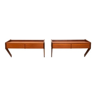1962 Vintage Danish Floating Teak Nightstands- a Pair