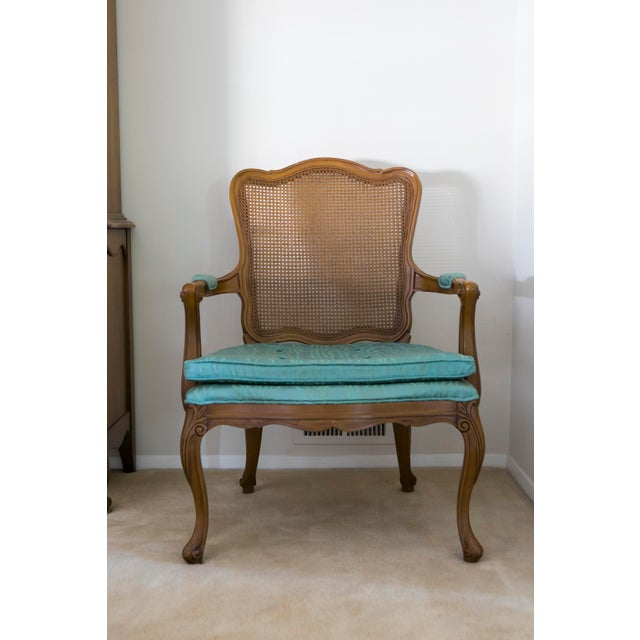 Traditional Vintage Cane Back Chair For Sale - Image 3 of 3
