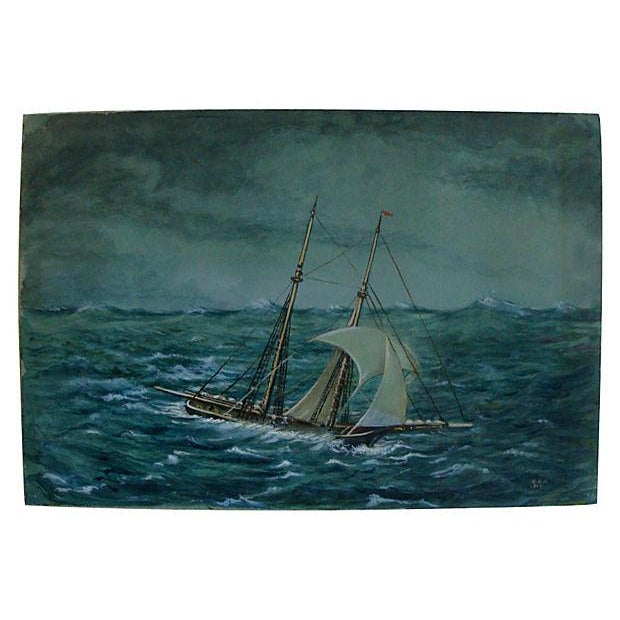 Antique Miniature Nautical Ship Painting - Image 1 of 4