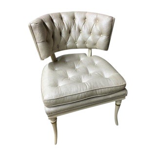 Glamorous 1960s Klismos Chair in Champagne Upholstery For Sale