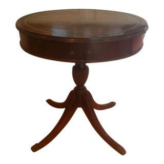 Vintage Queen Anne Style Drum Table Banded Leather Top on Pedestal Claw Caps