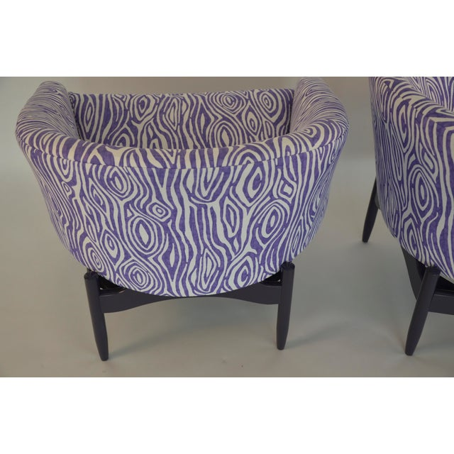 Mid Century Modern Pair of Lawrence Peabody Newly Upholstered Barrel Back Lounge Chairs - Image 3 of 12
