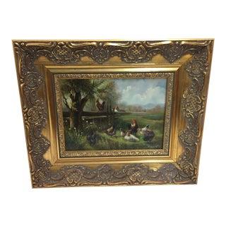 Samuel Koch Oil Painting Chickens New York Artist For Sale