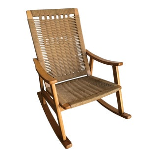 Vintage Mid Century Modern Hans Wagner Style Rope Rocking Chair
