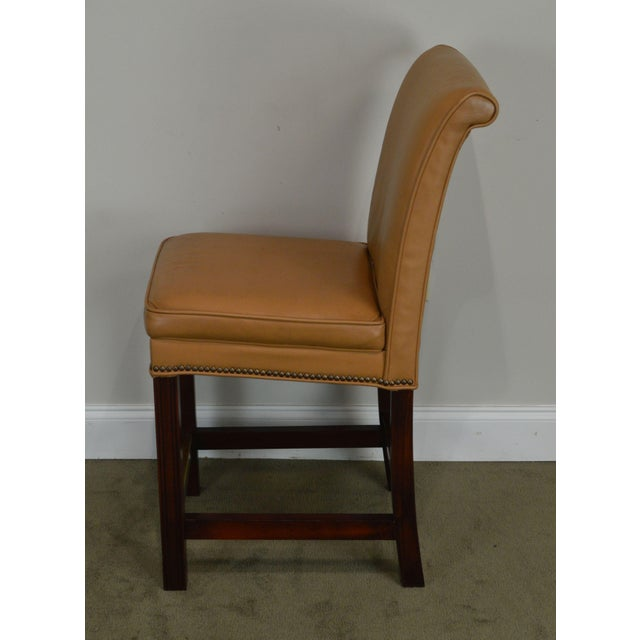 Fairfield Set 4 Tan Leather Bar Stools For Sale In Philadelphia - Image 6 of 12