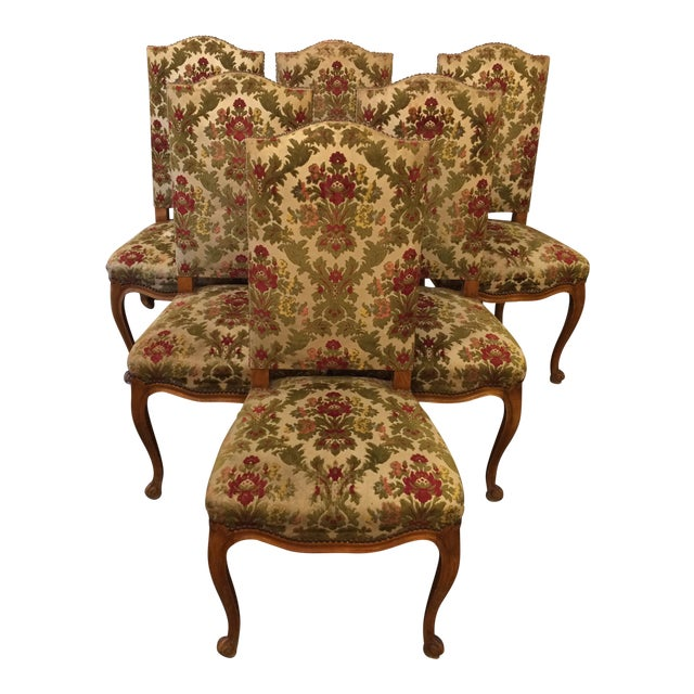 louis xiv style walnut chairs with original velour de lyon